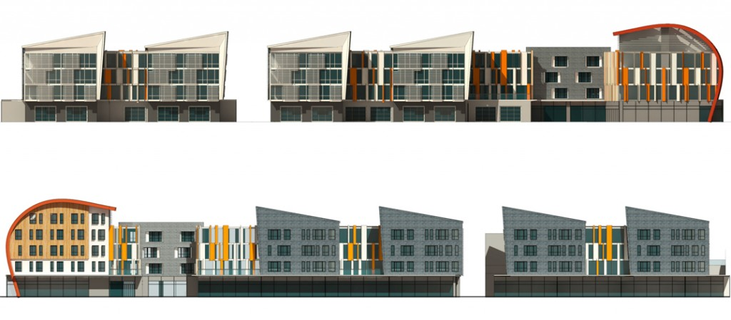 Project elevations (campus side, top; city side, below)